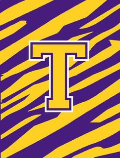 Monogram Tiger Stripe Purple Gold Letter T Monogram Initial Flag House Size