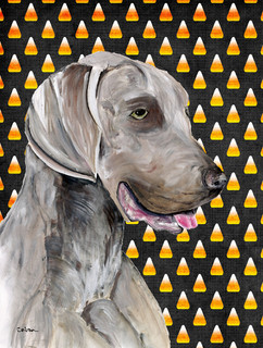 Weimaraner Candy Corn Halloween Portrait Flag Canvas