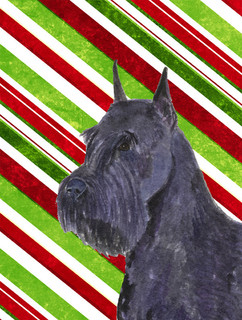 Schnauzer Candy Cane Holiday Christmas Flag Canvas House Size
