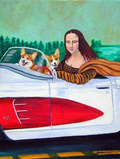 Mona Lisa With Corgi Flag Canvas House Size