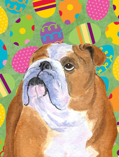 Bulldog English Easter Eggtravaganza Flag Canvas House Size