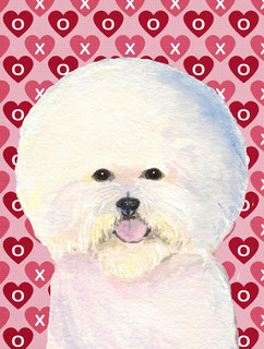 Bichon Frise Hearts Love and Valentine's Day Portrait Flag Canvas House Size