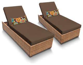 Laguna Chaise Outdoor Wicker Patio Furniture Cocoa Set of 2