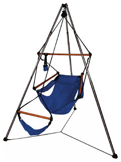 Hammaka Outdoor Tripod Hanging Air Chair Combo with Wood Dowels Midnight Blue