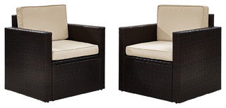 Palm Harbor 2-Piece Outdoor Wicker Seating Set With Sand Cushions