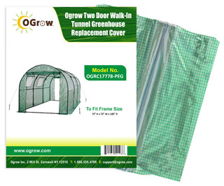 Tunnel Greenhouse Replacement Cover-Fit Frame 15'x6'x6' Green