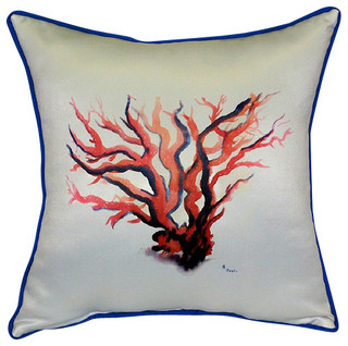Betsy Drake Red Coral Pillow- Indoor/Outdoor