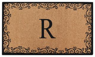 """Floral Border Coir Doormat 24""""x39"""" R"""