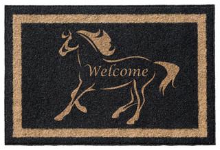 Stallion Welcome' Infinity Custom Doormat Black 3'x5'
